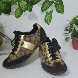 Coach joss tennis shoes gold and brown color